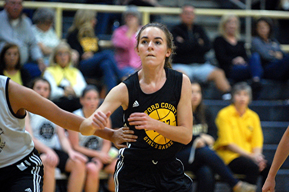 SCENES FROM the WCHS girls' basketball scrimmage during Jacket Madness on Friday, Nov.  18 in The Hive. Cassie Cook tries to get position on a defender during a free throw. (Photo by Rick Capone)