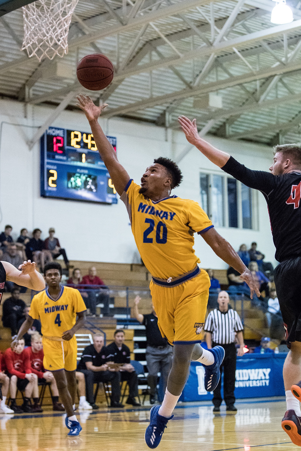 DJ TOWNSEND, a senior from Somerset, Ky., posted a new Midway career-high as he went for 33 points on 12-of-21 shooting, while knocking down seven triples in Midway's 84-73 loss to Ohio Christian University. (Midway Athletics photo)