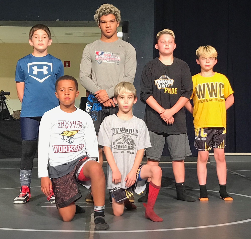 WOODFORD WRESTLING CLUB competed at the Rumble at the Resort June 2 at Belterra Casino in Indiana. All six wrestlers placed in the event. From left, are Braylen Livingston and Brycen Gray; back, Jeffrey Temprano, Triston Brooks, Harley Graham, Landon Yost. (Photo submitted)