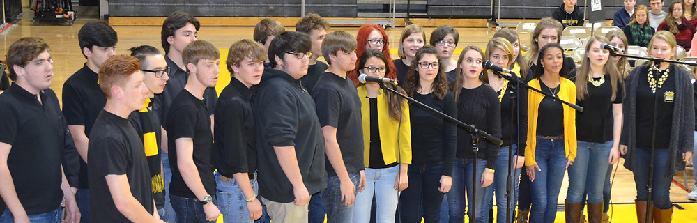 CUTLINE: THE MELLOW JACKETS will join other choir students during a winter concert at Woodford County High School on Friday night, Dec. 18 at 6:30. Donations will be taken for the family of Logan Tipton, who was killed by an intruder last week. (Photo by Bob Vlach)