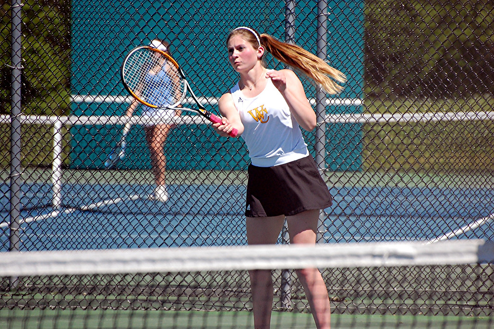 ELLINGTON KING has had success in both singles and doubles for the Woodford County High School girls' tennis team, as the Racket Jackets are 2-2 so far this season. (File photo by Rick Capone)