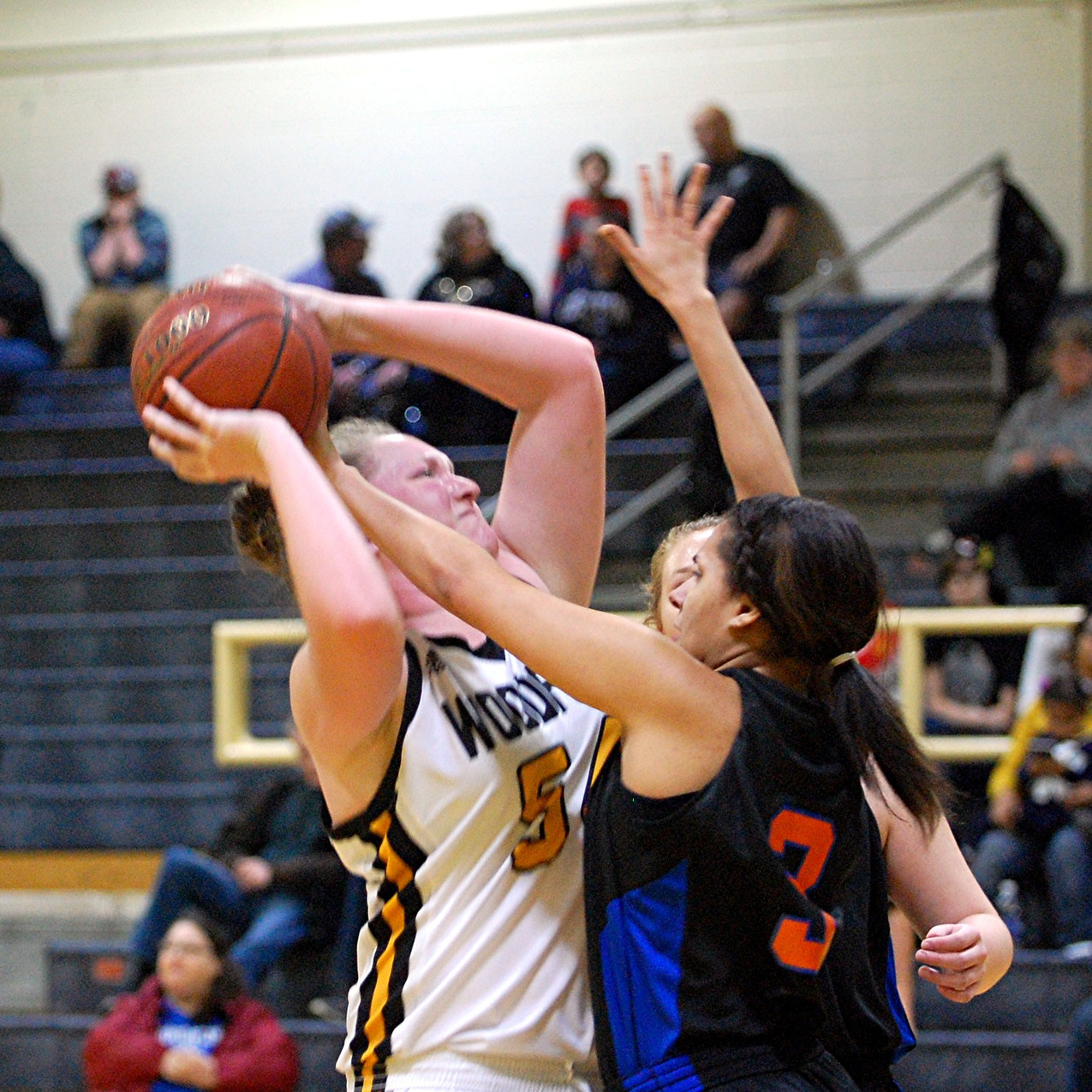 DELANY ENLOW fights to take this shot during Woodford's game against Frankfort at home in The Hive on Saturday, Jan. 28. Enlow had a double-double in the game, scoring 20 points and pulling down 16 rebounds, to help the Lady Jackets win the game 60-40. (Photo by Rick Capone)