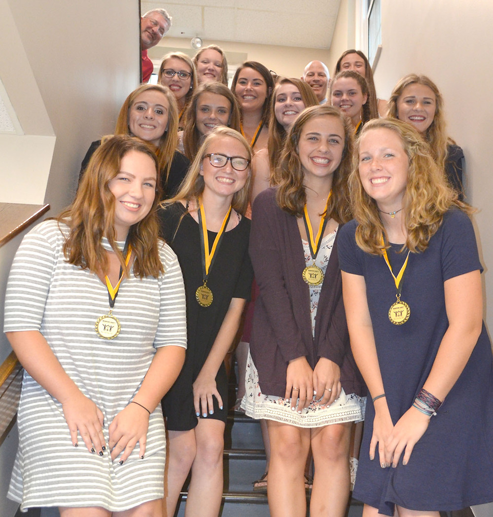 THE WCHS SOFTBALL TEAM was honored by the Woodford County Board of Education on Tuesday night, Aug. 22, for winning a Region 11 Championship and advancing to the 2017 KHSAA State Fast Pitch Softball Tournament last season. (Photo by Bob Vlach)