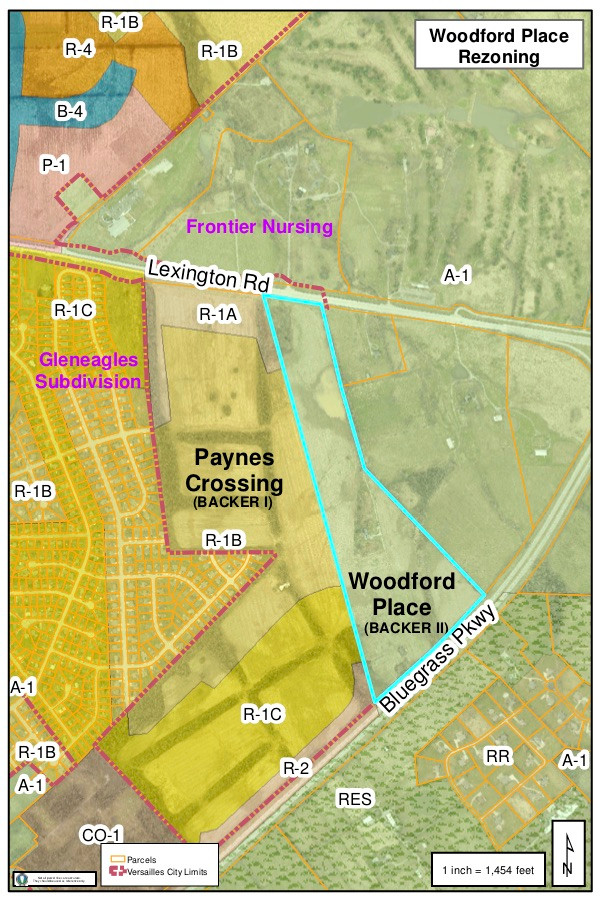 """A PROPOSED RESIDENTIAL SUBDIVISION known as """"Woodford Place"""" is located east of a planned subdivision known as """"Paynes Crossing"""" on Lexington Road. Gleneagles is located west of the subdivisions. (Graphic prepared by Woodford County GIS Coordinator Kenneth Johns)"""