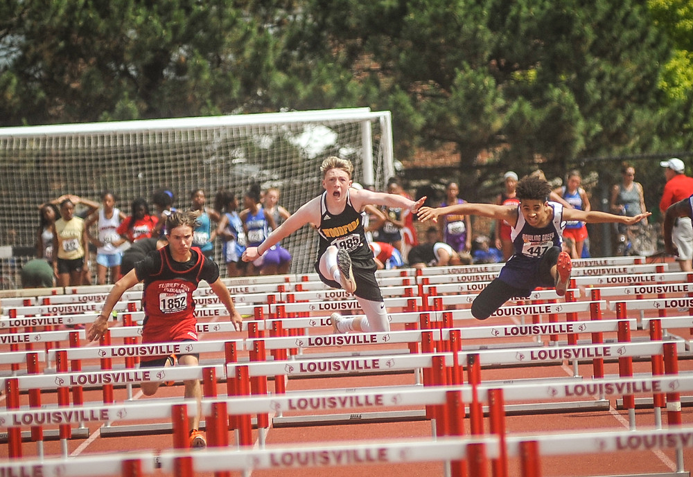 WCMS EIGHTH-GRADER REECE GOSS finished 23rd in the boys' 100-meter hurdles at the State Championship May 26. (Photo by Bill Caine)