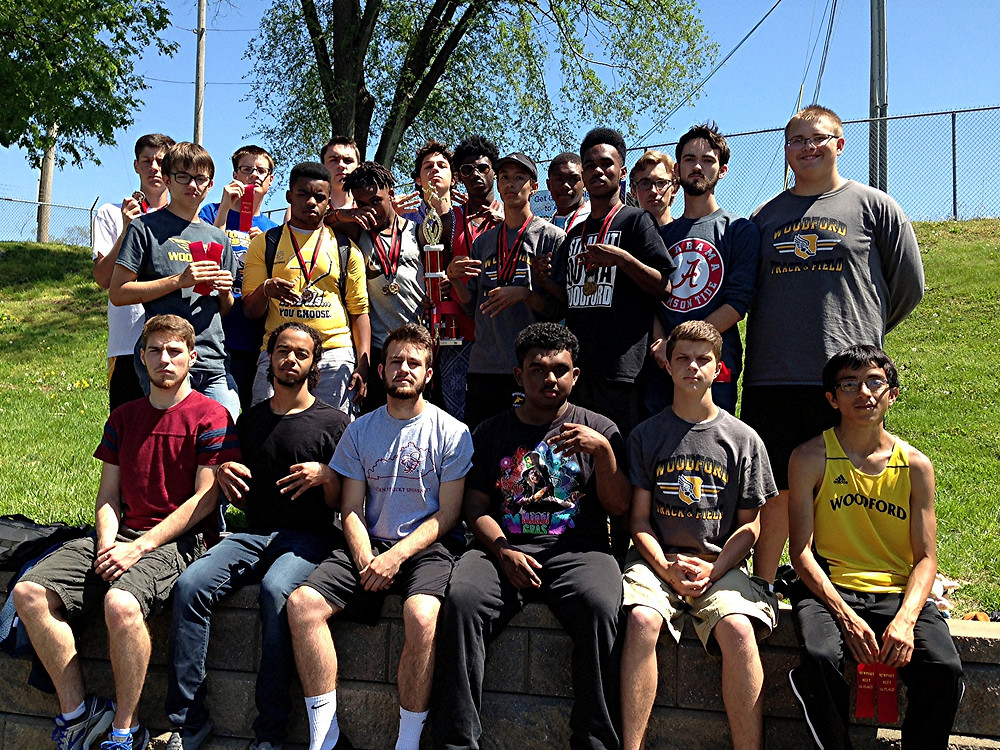 THE WOODFORD COUNTY HIGH SCHOOL boys' track team finished second at the Newport River City Classic at Newport Stadium in Newport on Saturday, April 23. Team members shown are, front row, from left, Nick Lamb, Aaron Shrout , Tristan Ferrell, D'Andre Sanchez, Drew Richie, and Abran Santos; middle row, Peter McGowan, Darnell Richard, Dwayne Depp, Jordan Upton, Jai Burgess, Will Miller, and Collin Hudson; back row, Alex Morgan, Brandon Kennedy, Landon Saum, Alex Karbach, Malik Richards, Brennan Clark, and Josh Finley. (Photo submitted)