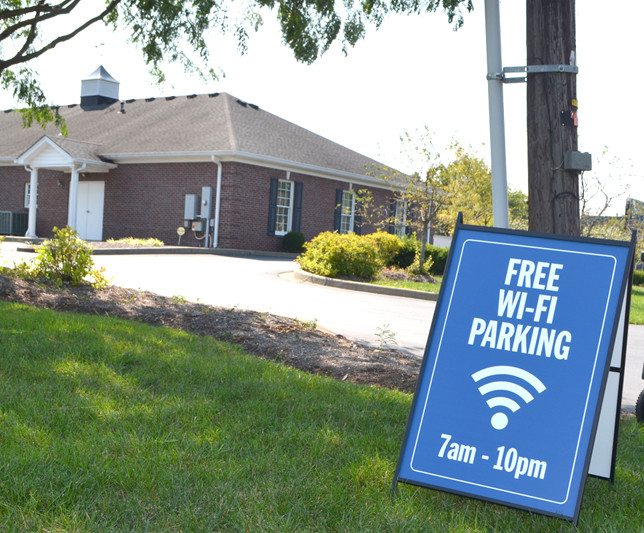 FREE WI-FI is available at Woodford County Farm Bureau's parking lot at 423 Lexington Road. Kentucky Farm Bureau (KFB) began offering free, public Wi-Fi service at 155 office locations across the state Aug. 26 and plans to expand to its 42 remaining offices over the next several weeks, a KFB news release stated. (Photo by Bob Vlach)