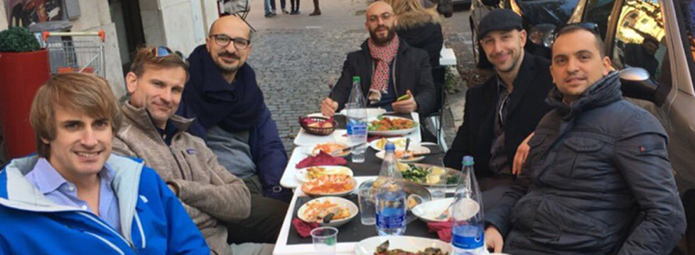 JAMES ESCALONI, second from right and wearing a cap, took part in a continuing education conference sponsored by the American Academy of Manipulative Therapy last December in Rome. Escaloni swapped ideas and treatments with other physical therapists from around the world. (Photo submitted)