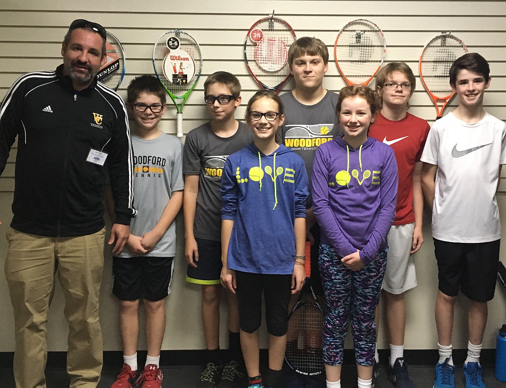 WCMS TENNIS advanced to the final four of the state tournament on Sunday, Nov. 13. From left : Coach Sam Polk, Nick Ruzenne , Simon Swansegar , Addie Patterson , Jordan Patterson , Cassidy Stiefel , Gus Smith and Parker Polk . (Photo submitted)