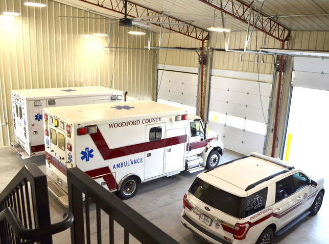THREE BAYS are available in the new Woodford County EMS station on Big Sink Road. There's enough space to add another ambulance crew when it's needed, EMS Director Freeman Bailey said. (Photo by Bob Vlach)