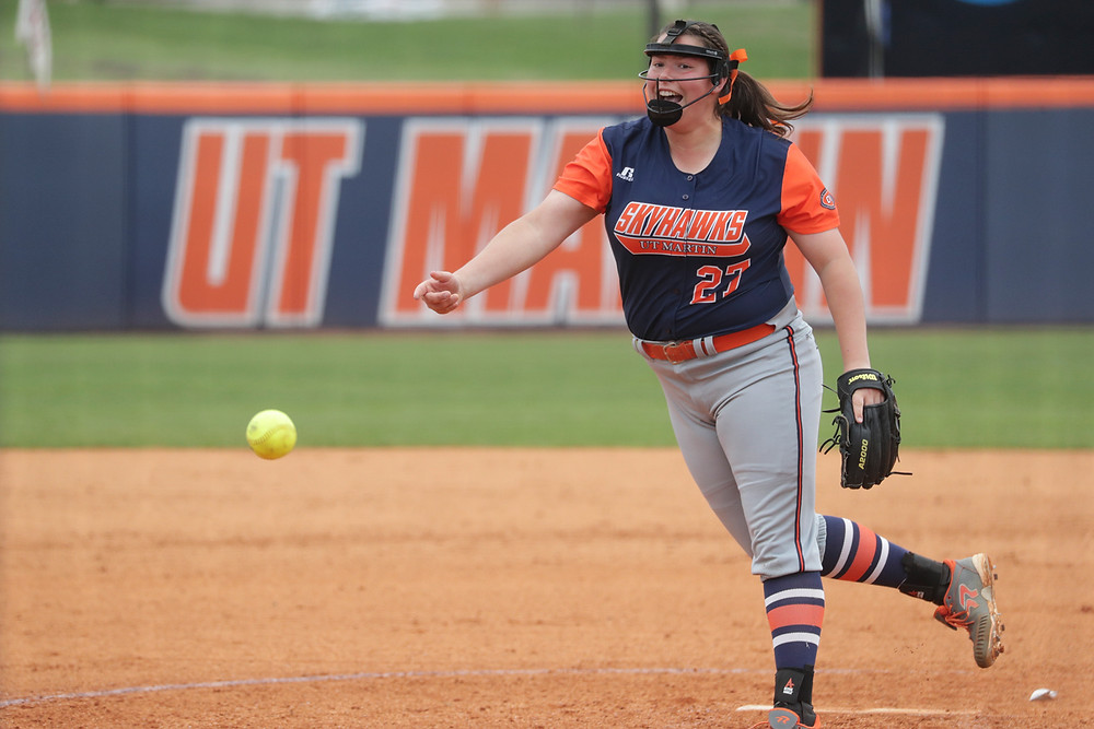 CAITLIN KARO, a 2017 graduate of WCHS is off to a fantastic start in the circle at the Univeristy of Tennessee at Martin. She is 9-6 and has thrown a handful of shutouts. (Photo courtesy of UT Martin Athletics)