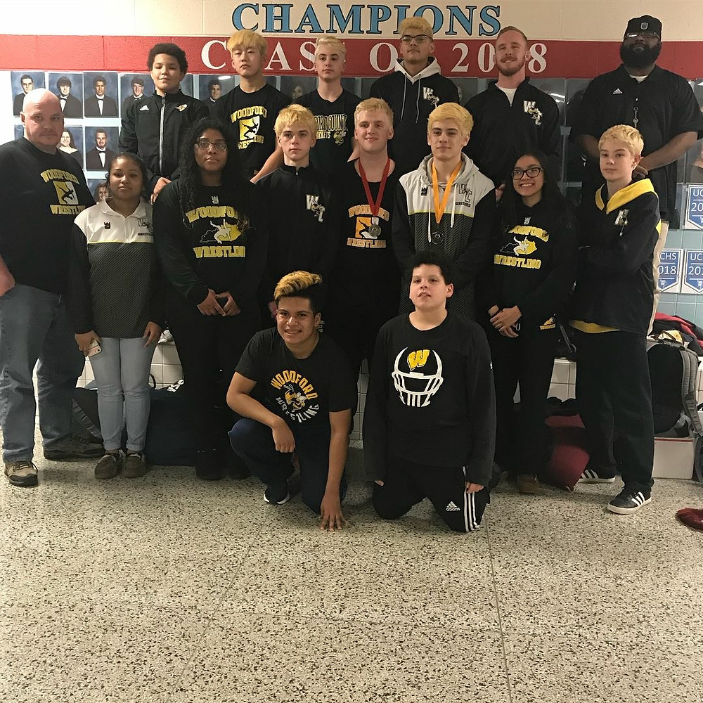 THE WOODFORD COUNTY HIGH SCHOOL JV WRESTLING TEAM finished 11th at the state championship on Feb . 3. The JV squad had five state-placers in the tournament including a runner-up finish by Seth Spaulding and third place finish by James Chavez. (Photo by submitted)