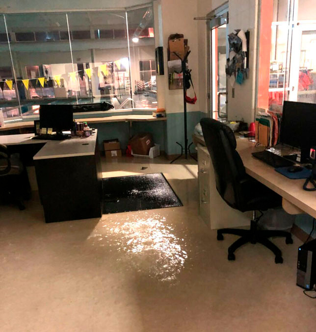 """SIGNIFICANT WATER DAMAGE was caused by a valve failure at the Falling Springs Arts and Recreation Center. """"It was essentially raining in the building,"""" said Rich Pictor, executive director of Versailles-Woodford County Parks and Recreation. A video on the center's Facebook page shows what Pictor saw when he went into the building last Friday morning. (Photo submitted)"""