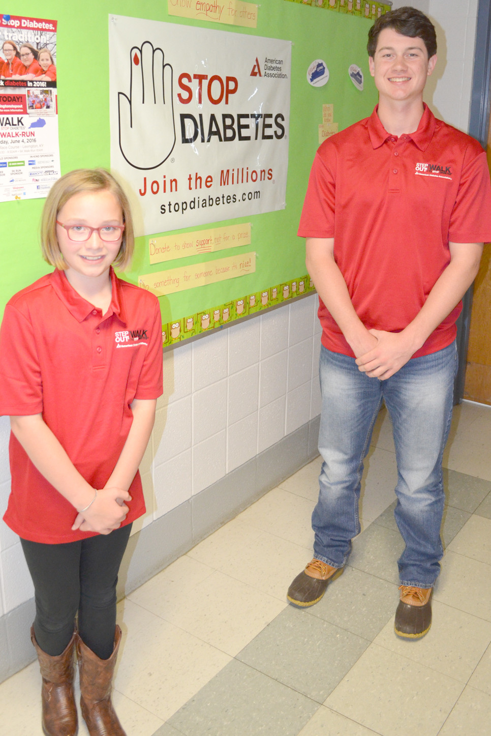 MADDY CAMPBELL and Parker Thomas are youth ambassadors for the American Diabetes Association. Their teams will participate in the annual Step Out: Walk to Stop Diabetes on Saturday, June 4, at the Keeneland Race Course on Versailles Road in Lexington. (Photo by Bob Vlach)