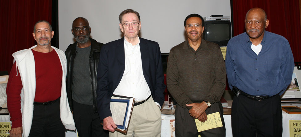Former high school basketball players (Midway and Woodford County high schools) that played basketball under coach Ed Allin attended a ceremony at the Midway Thoroughbred Theater honoring Coach Allin. The event took place in 2008.  Pictured, from left, Lonnie Jackson, Herbert Bush, coach Ed Allin, William Bland, Fred Jackson.  (Photo by John McDaniel)