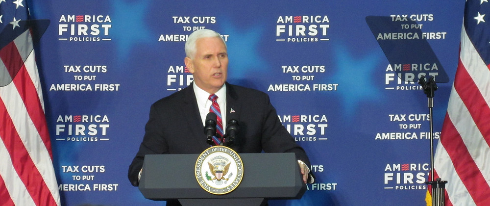 VICE PRESIDENT MIKE PENCE spoke to a large, pro-Trump crowd at More Than A Bakery early Wednesday afternoon. Pence, a former congressman and Indiana governor, said tax cuts passed late last year were helping Kentucky grow like never before. (Photo by John McGary)