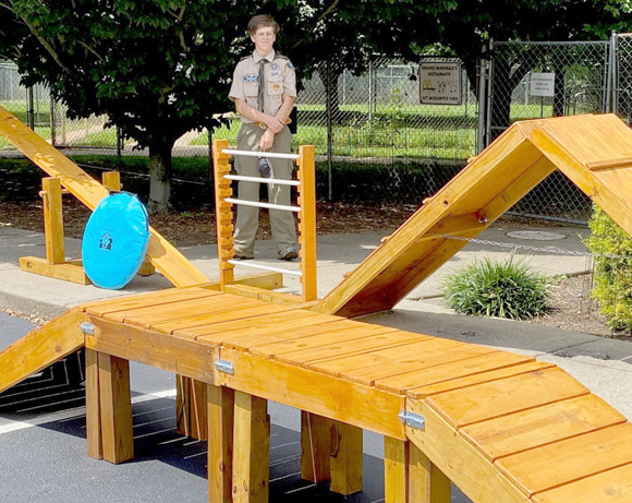 AN AGILITY COURSE FOR DOGS at the Woodford Humane Society was built by Caleb Standley and Boy Scout Troop 14. The Woodford County High School senior said his Eagle Scout project was completed this summer and delivered only days before his 18th birthday. (Photo submitted)
