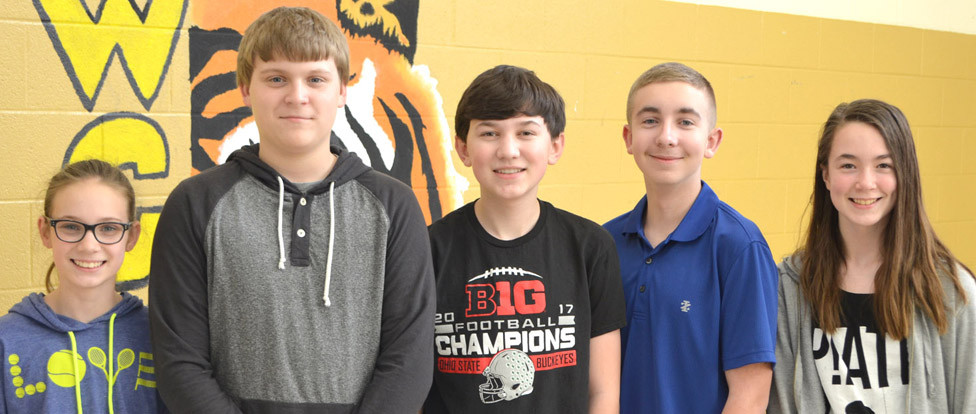 A FUTURE PROBLEM SOLVING TEAM will again represent Woodford County Middle School at the Kentucky Governor's Cup finals. From left are team members Addie Patterson, Jordan Patterson, Bryant Craig, Cody Boesch and Liberty Parzyszek. (Photo by Bob Vlach)