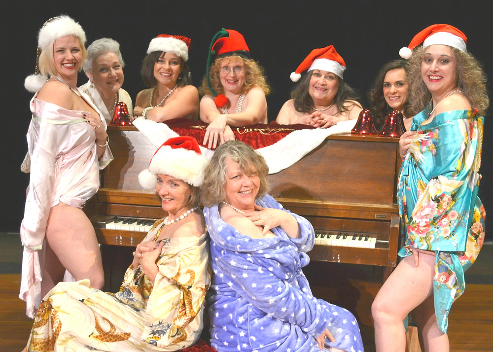 CALENDAR GIRLS comes to the Woodford Theatre for three weekends of performances beginning this Friday night at 8. Front, from left, are Susan Thomas and director Patti Heying; back, Grace Ann Miles, Marie Henderson, Sherry Jackson Thompson, Sharon Sikorski, Gina Scott-Lynnaugh, Evender Hodges Sanders and Melissa Wilkeson. (Photo submitted)