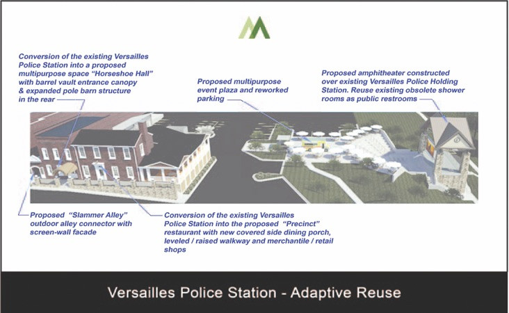 """THIS """"PRECINCT PROJECT"""" rendering and others presented to the Versailles City Council Aug. 26 are still on display in council chambers in the Versailles Municipal building. On the left is the present headquarters of the Versailles Police Department; in the middle, an event plaza and reworked parking lot; and on the right is an amphitheater that would be built atop the VPD's evidence building. The projected price tag for the entire, three-phase project is $1.2 million. (Rending by Myers Architecture)"""