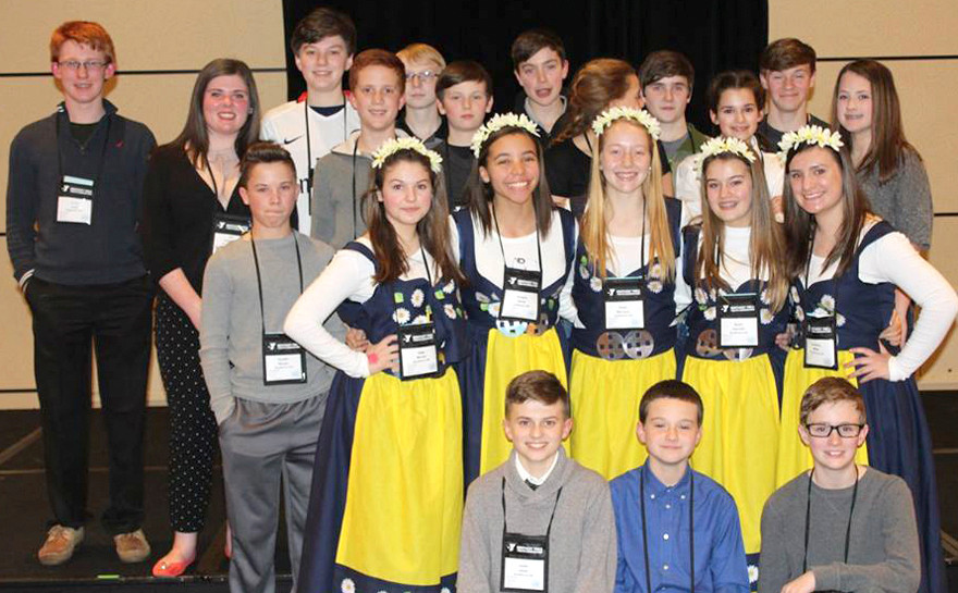 FOR A THIRD STRAIGHT YEAR, Woodford County Middle School was named a Delegation of Excellence at the Kentucky United Nations Assembly in Louisville. Front, from left, are Isaiah Lester, Zach Stiefel and Garrett Cheek; second row, Saige Miracle, Karigan Smith, Shelbi Morrison, Skyler Pelzer and Caroline Miller; third row, Kendall Maupin, Mason Mefford, Lucas Jones, Elizabeth Edwards, Emelia Sprinkle and Lacey Scott; back row, Cayce Jones, Zia Luchtefeld, Logan Craig, Connor Gililland, Hunter Penn, Nicholas Crowe and Ryan Alvey. (Photo submitted)