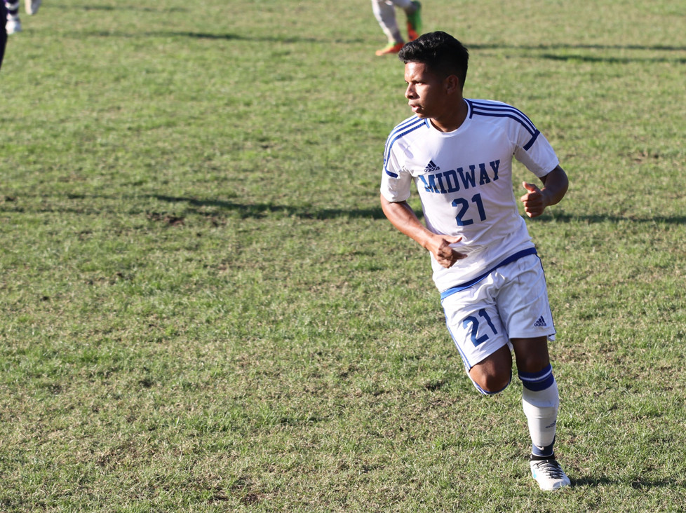 JOSE CORONADO, a native of El Valle de Anton, Panama, netted his first goal and assist of the season in Midway's 2-0 shutout victory over Asbury University on Saturday, Oct. 14. (Midway University photo)