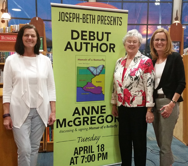 """FIRST-TIME AUTHOR Anne McGregor, middle, accompanied by daughters Anne Dora Hart, left, and Helen Graham, held a book signing at Joseph Beth Booksellers in Lexington last week for her first novel, """"Memoir of a Butterfly."""" (Photo submitted)"""