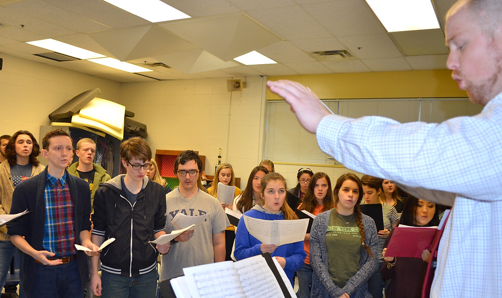 WCHS CHOIR STUDENTS, under the direction of Cooper Schrimsher, will sing holiday favorites, pop songs and classical pieces during their winter concert on Wednesday, Dec. 14, at 6 p.m. (Photo by Bob Vlach)