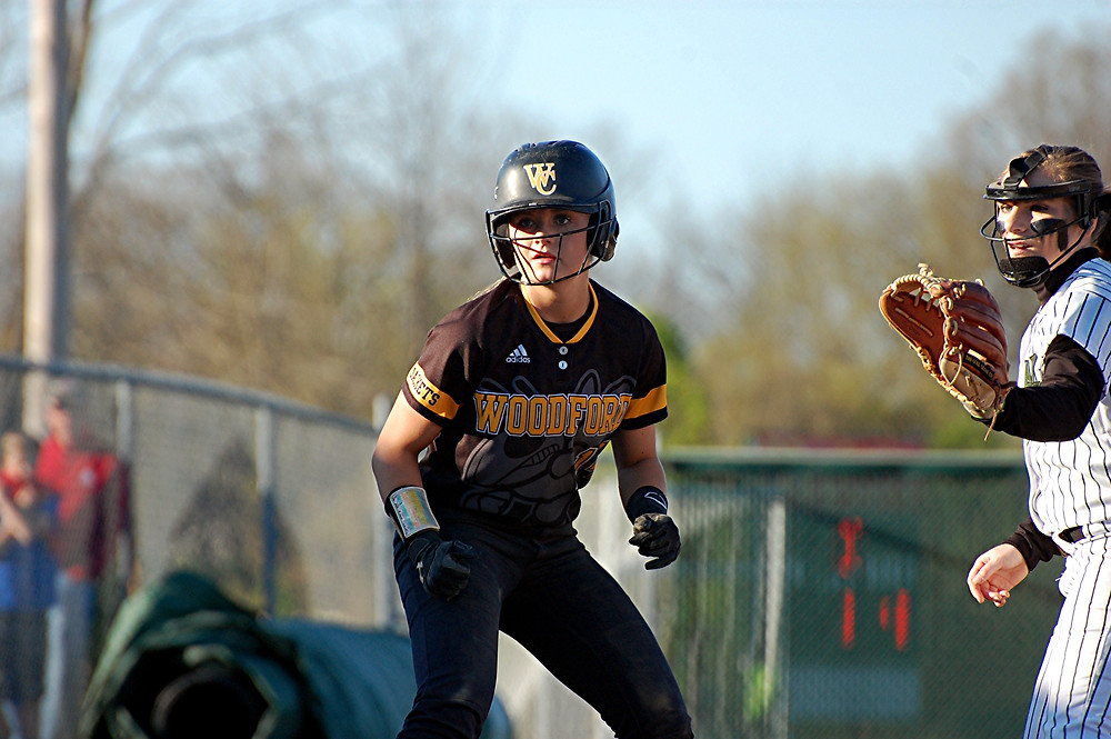 CAITLIN FERGUSON helped the Woodford County High School softball team repeat as 41st District champions. The senior will play for the University of Louisville next year. (Photo by Rick Capone)