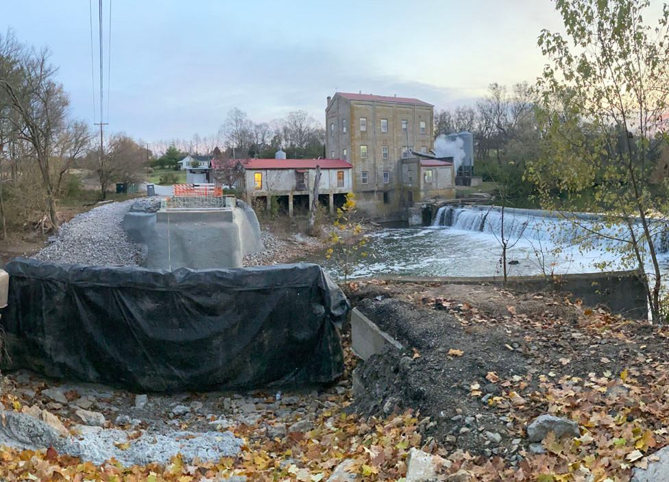 WORK CONTINUED ON the Weisenberger Mill Bridge Monday morning, as workers strengthened the anchor points where the new bridge will meet the foundations. (Photo by Vanessa Seitz)