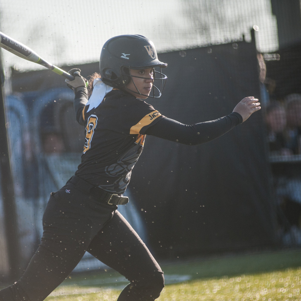 WCHS FRESHMAN TATUM WIMBERLY follows through on a swing in the Lady Jackets win against Boyle County on Wednesday, March 21. Wimberly had the game-winning hit in the bottom of the seventh inning against Oldham County on Monday, March 26 at Woodford County Park. (Photo by Bill Caine)