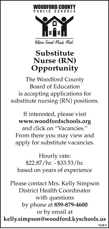 WCPS Substitute Nurse Opportunity 10-29.