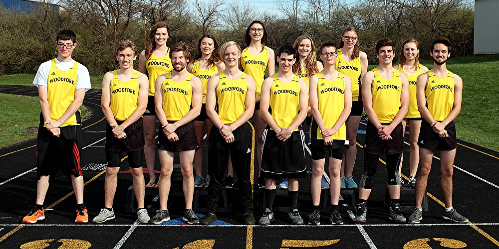 THE SENIOR athletes on the Woodford County High School track teams posed for a photo earlier this season. They are front row, from left, Austin Kennedy, Josh Finley, Justin O'Nan, Sam Welling, Branden Brookfield, Brandon Kennedy, Jeffrey Bonci, and Will Miller; back row, Audrey Ward, Kennedy Reister, Jacqui Kowalke, Brooke Stilwell, Natalie Grenfell, and Abi Lewis. Not pictured: Miriam Gonzalez and Gerardo Garcia. Two of the seniors, Brookfield (pole vault) and Ward (high jump), qualified for the KHSAA State Track and Field Championships, which will be held on Saturday, May 23, at the University of Kentucky. (Photo by John Hemlepp)
