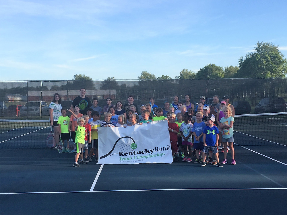 MORE THAN 60 KIDS attended the Kentucky Bank youth tennis camp at Falling Springs July 17. (Photo by Bill Caine)