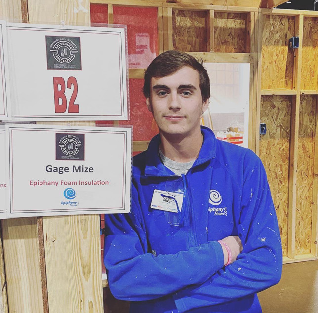 "GAGE MIZE was in Denver two weeks ago to take part in the ""America's Best Installer"" contest sponsored by a leading foam insulation company. The 18-year-old didn't win, but said he had a great time before, during and after the competition. (Photo submitted)"