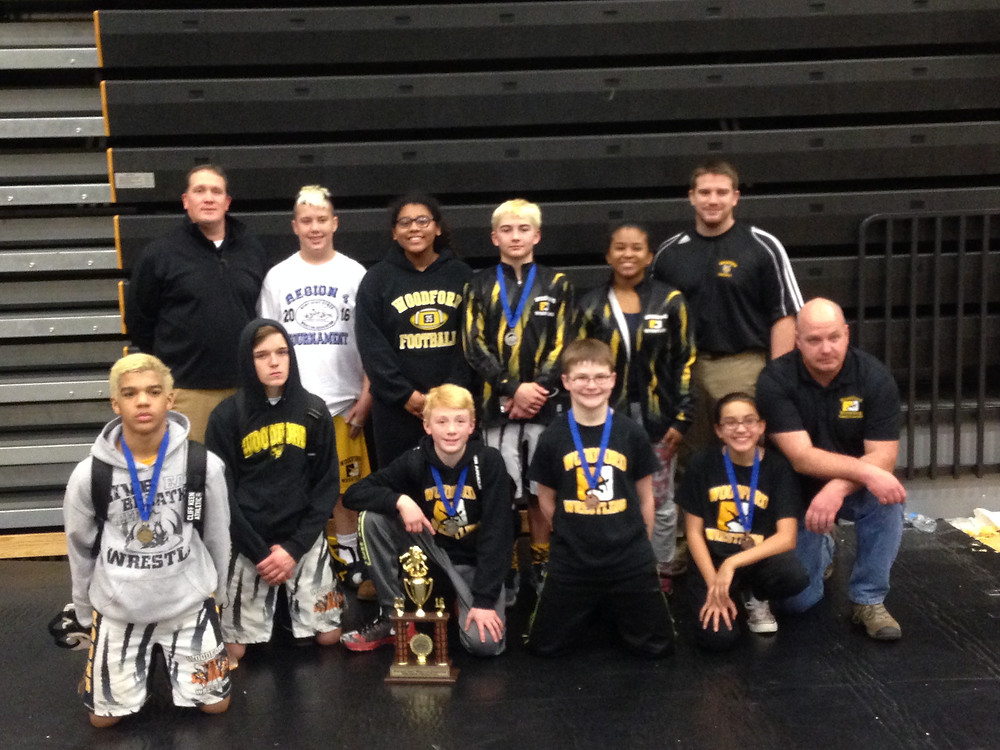 THE WOODFORD COUNTY MIDDLE SCHOOL wrestling team sent seven wrestlers to the state tournament on Saturday, Feb. 6 at the Louisville Convention Center and returned with some good results. (Photo submitted)