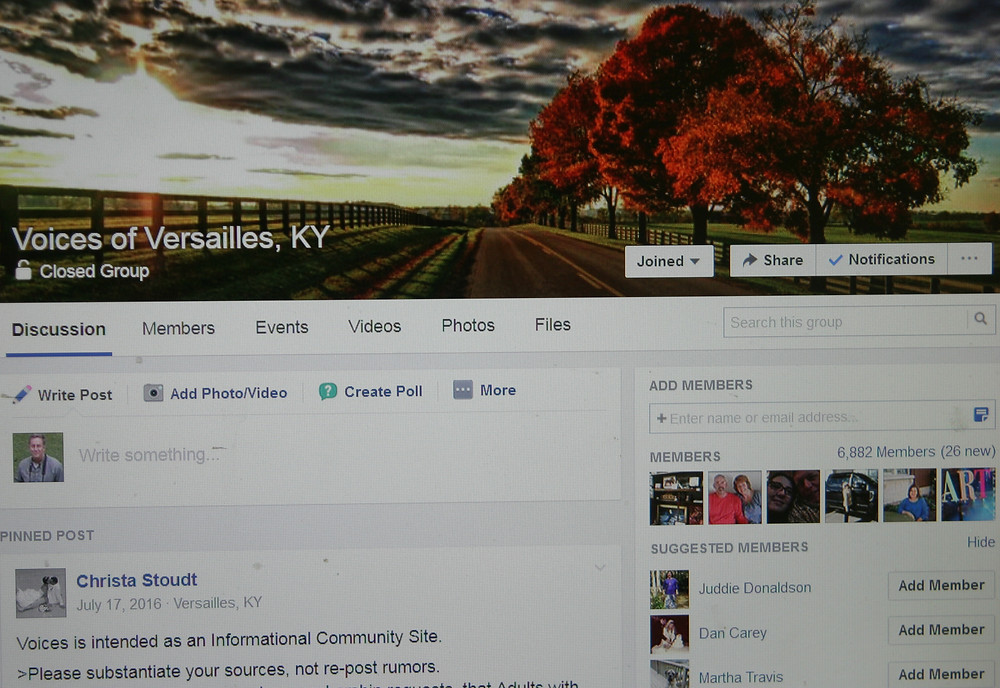 VOICES OF VERSAILLES now has more than 6,880 members, who use the Facebook page to look for jobs, babysitters, recommendations for mechanics and, occasionally, trade a bit of gossip. (Photo by John McGary)