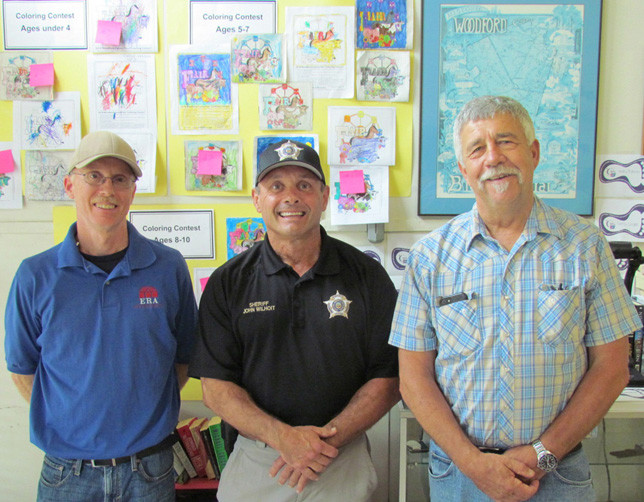 2018 WOODFORD COUNTY FAIR coloring contest judges were, from left, John Dale, Woodford Sheriff Johnny Wihoit and Jim Maffett. (Photo by John McGary)