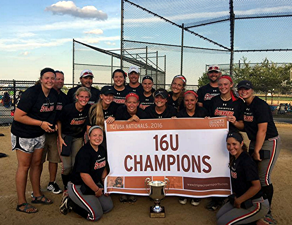 NATIONAL TOURNAMENT CHAMPIONS. Four Woodford County High School softball team members – Lindsay Anderson, Caitlin Karo, Paige Hampton and Bethany Todd – were part of the Louisville Stunners, a team of 13 athletes that won the elite Triple Crown National Softball Championship tournament, which was held Monday to Friday, July 11 to 15, at Randall Park in New York City. In the tournament, the Stunners went undefeated – 8-0 – and beat the Firecrackers of Southern California 6-3 to win the title. Team members shown are front row, from left, Paige Hampton (Versailles), and Erikah Crosier (New Albany, Ind.); middle row, Shelby Nunn (Bowling Green), Halie Fain (Georgetown), Allison Davis (Madisonville), Jordan Thomas (Lebanon), Lindsay Renneisen (Mt. Washington), Aubree Muse (Rineyville), Katelyn Smith (Bowling Green), and Lindsay Anderson (Versailles); Tim Davis (assistant coach), Gay Muse (assistant coach), Caitlin Karo (Versailles), Les Anderson (head coach), Hailey Whitmer (Louisville), Bethany Todd (Versailles), and Ryan McCoy (assistant coach). (Photo submitted)