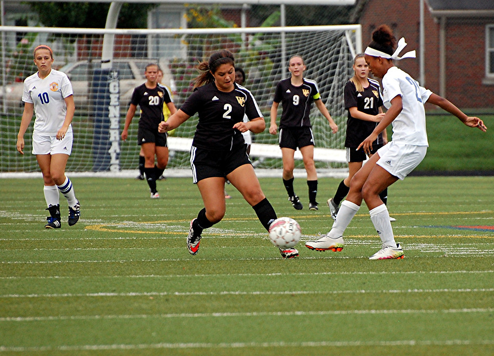 LAUREN RANKIN had a goal and two assists to help the Woodford County High School girls' soccer team defeat district rival Franklin County 5-0 at home on Monday, Aug. 29. (Photo by Rick Capone)