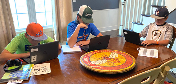 THE SHRYOCK BROTHERS Drew, Jackson and Colt like other students in Woodford County Public Schools are using Chromebooks for virtual learning. Their stay-at-home mom, Rebecca, says it's been frustrating navigating the technology. (Photo submitted)