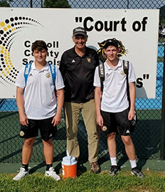 THE WCHS DOUBLES PAIR of Mason McIntyre and Evan Bentley advanced to the KHSAA State Tennis Tournament. Pictured from left: McIntyre, Coach Stan Watts, and Bentley. (Photo submitted)