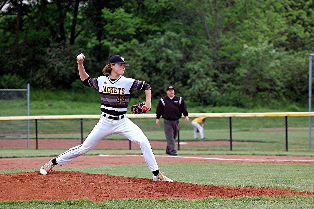 NATE BEAVERS pitched a good game against Anderson County at home on Monday, May 3. The senior pitcher had nine strikeouts, but the Bearcats came from behind in the seventh inning to get the win, 6-1. (Photo by Rick Capone)