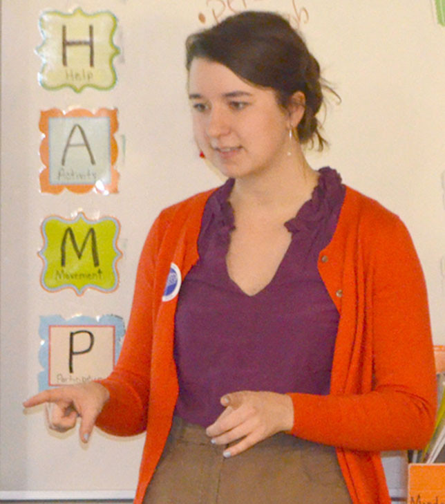 HANNA LEATHERMAN talked about her work as coordinator of family and community programs at The Clark Art Institute during Arts Day at Simmons Elementary School Nov. 20. (Photo by Bob Vlach)