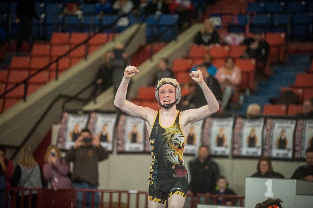 WCMS EIGHTH-GRADER REECE GOSS won the middle school state championship in the 121-pound weight class on Saturday, Feb 3 at Broadbent Arena in Louisville. Goss was undefeated for the season and was named the Most Outstanding Wrestler at the tournament. (Photo by Bill Caine)