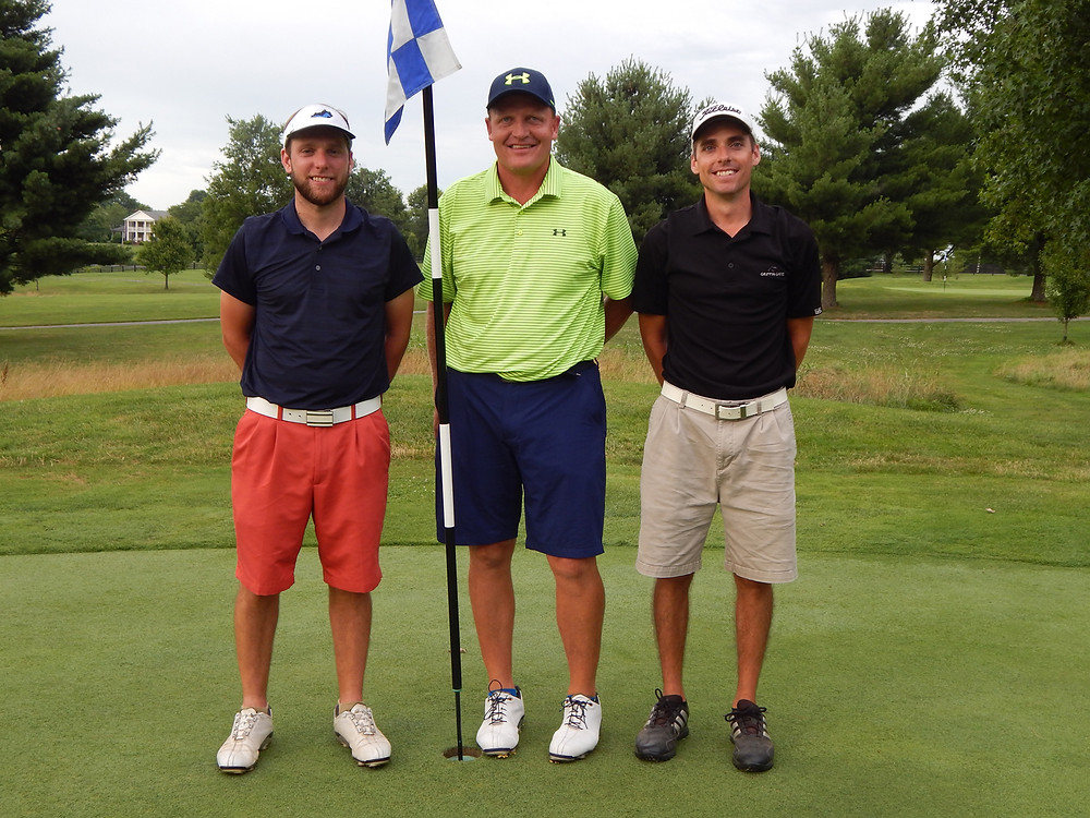 SHOOTOUT WINNERS at the 20th annual Woodford Educational Endowment Foundation's Golf Tournament Fundraiser were, from left, third place, J.D. Gould; first place, Ken Arrington; and second place, Brandon Gould. (Photo submitted)