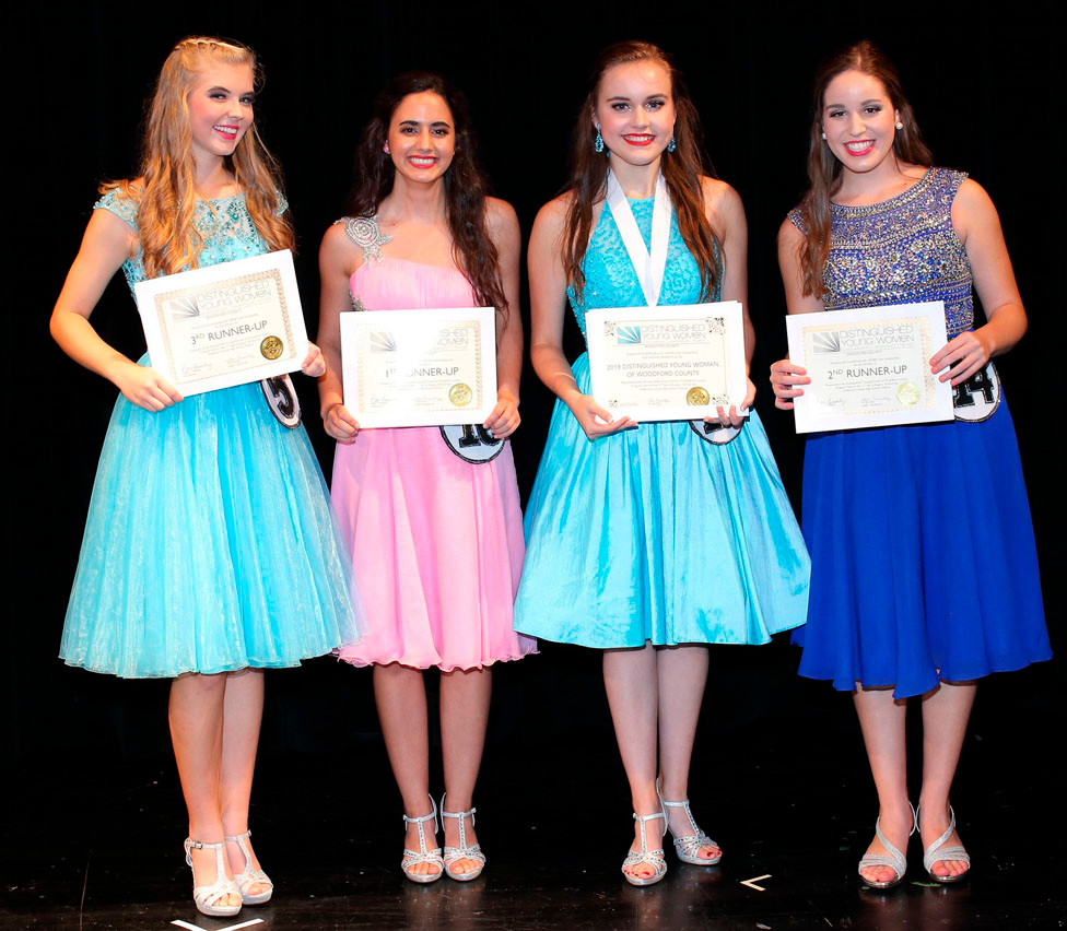BELLA WOLFE was named the 2019 Distinguished Young Woman of Woodford County on Saturday, Aug. 11.  From left to right are: Addison Beck, third runner-up; Sissy Spasova, first runner-up; Bella; and second runner-up Sarah Karbach. (Photo by John Hemlepp)