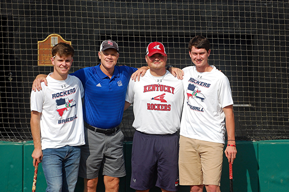HOME FROM THEIR TRIP. Barry Hartley, second from left, along with three members of the Kentucky Rockers 17U baseball team that went on a Christian mission to the Dominican Republic this past summer to spread the word of God and play some baseball. They are, from left, Harrison Keith, Barry, Kaleb Hartley (Barry's son) and Parker Thomas. (Photo by Rick Capone)