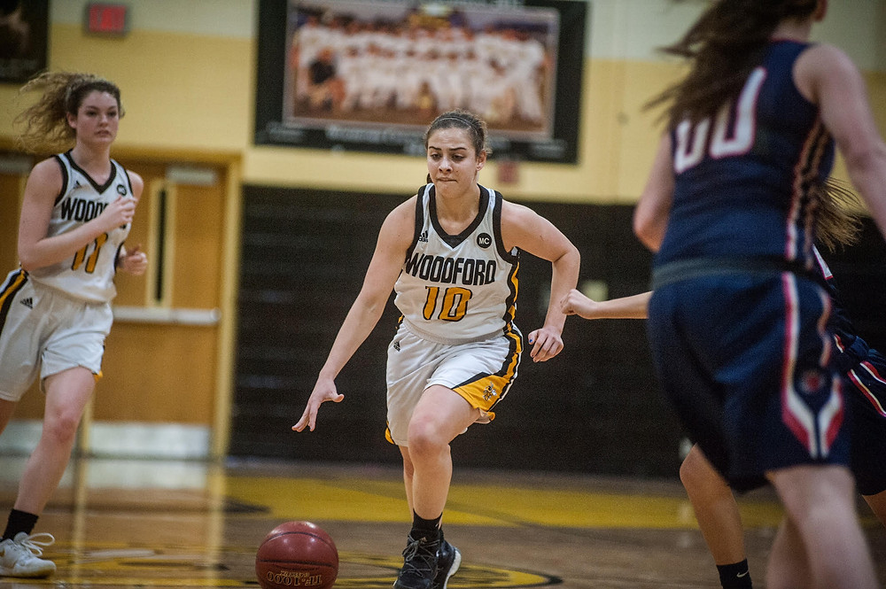 WCHS SENIOR POINT GUARD PEYTON ROSE dribbles the ball up the court in the Lady Jackets' loss to Harrison County on Wednesday Feb.7. Rose is averaging six points a game this season. (Photo by Bill Caine)