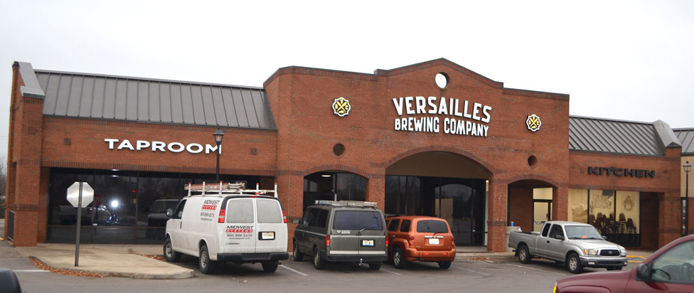 VERSAILLES BREWING COMPANY will open its restaurant doors in a repurposed space in the Lexington Road Plaza on Friday, Dec. 29. Versailles Brewing Company hopes to begin brewing its own beer in April, co-owner Gary Jones said. (Photo by Bob Vlach)